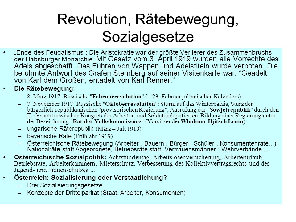Revolution, Rätebewegung, Sozialgesetze