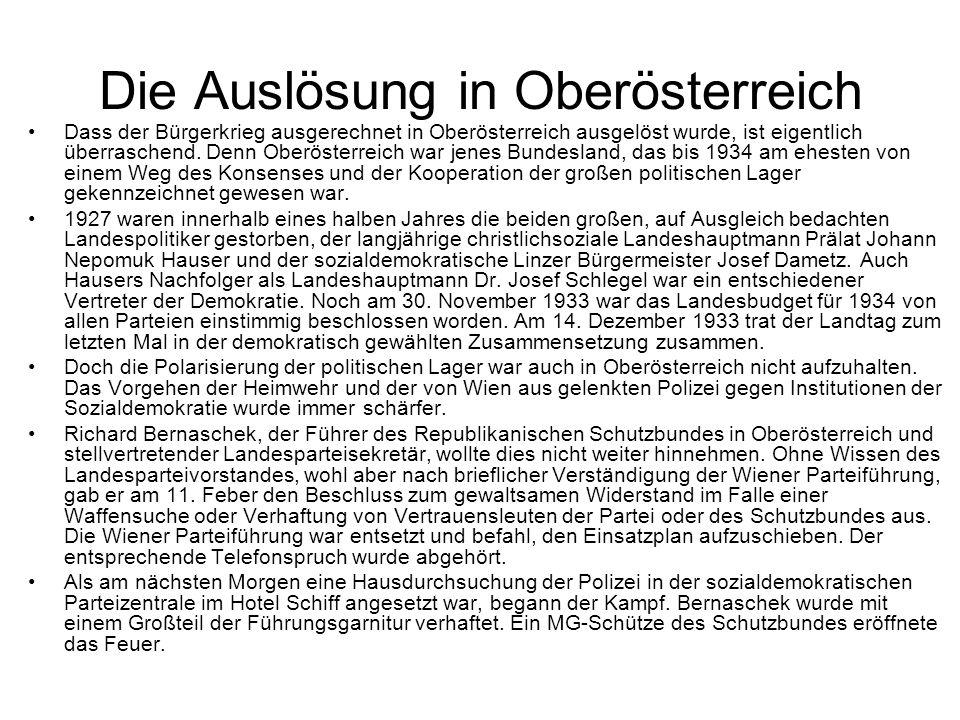 Die Auslösung in Oberösterreich