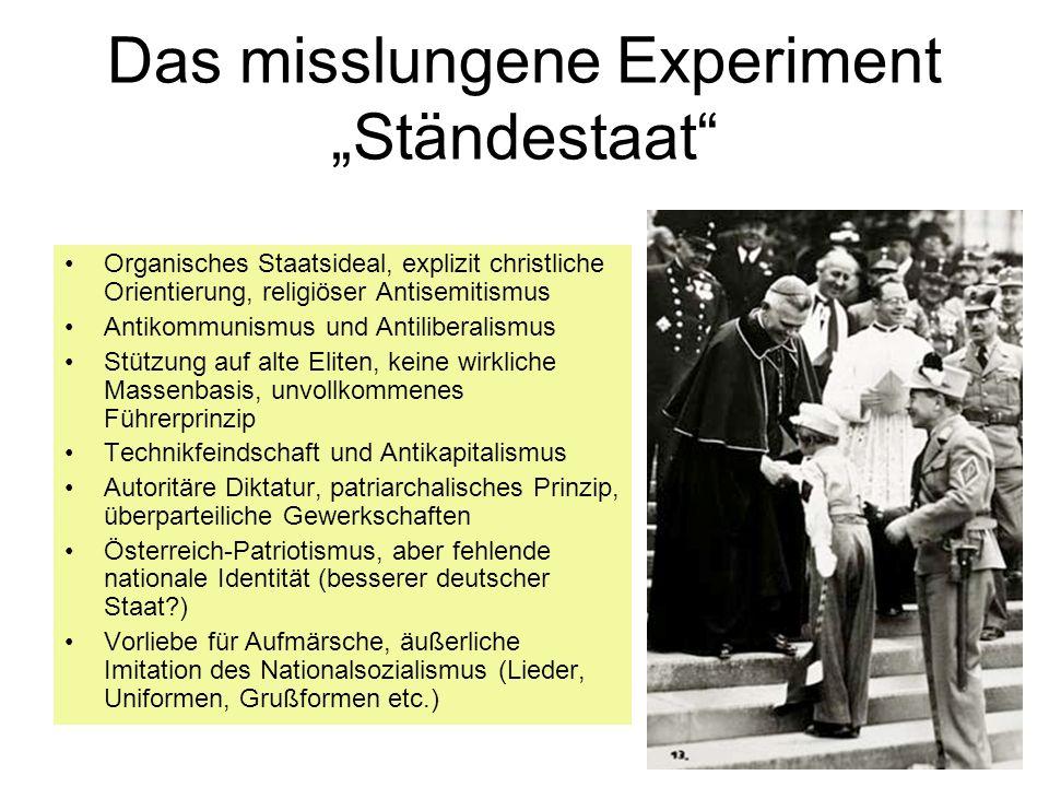 """Das misslungene Experiment """"Ständestaat"""
