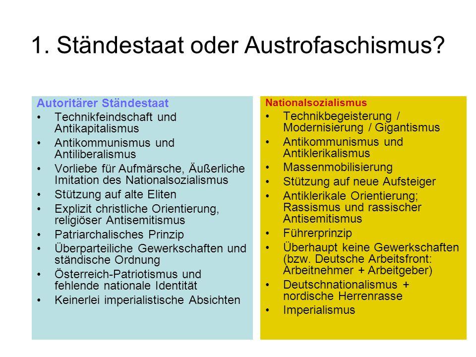 1. Ständestaat oder Austrofaschismus