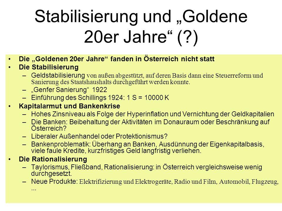 """Stabilisierung und """"Goldene 20er Jahre ( )"""
