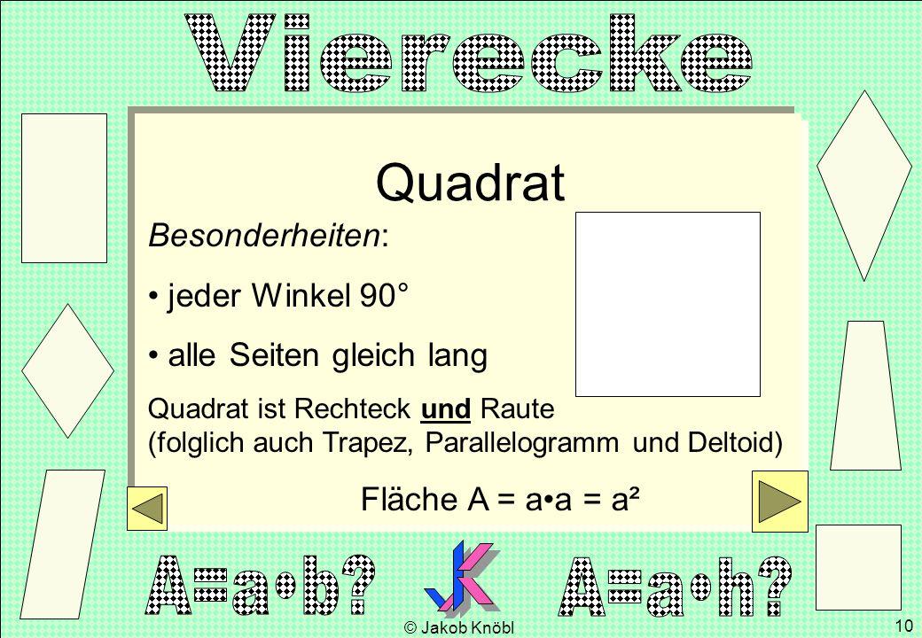 Quadrat Besonderheiten: jeder Winkel 90° alle Seiten gleich lang