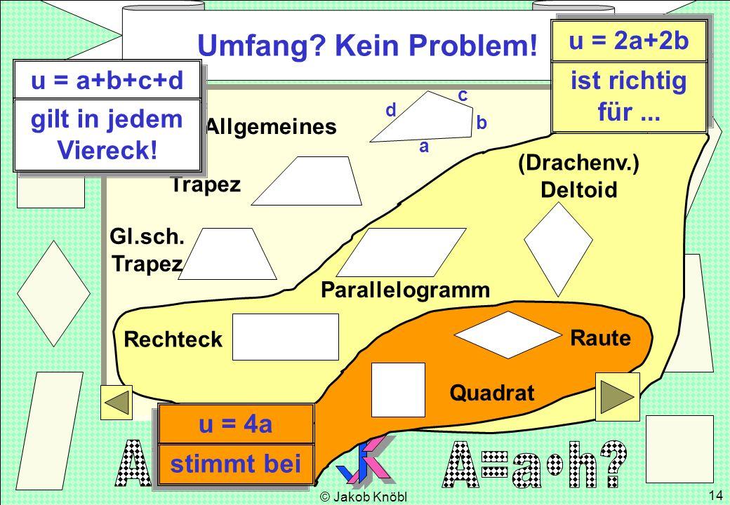 Umfang Kein Problem! u = 2a+2b u = a+b+c+d ist richtig für ...