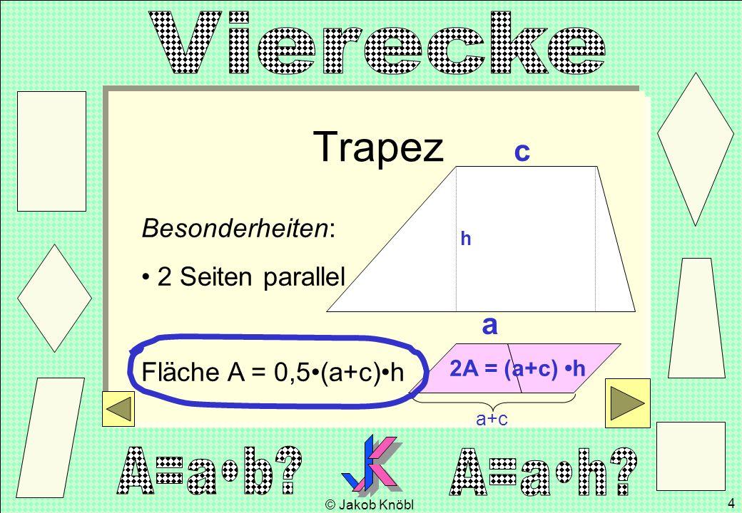 Trapez c a Besonderheiten: 2 Seiten parallel Fläche A = 0,5•(a+c)•h