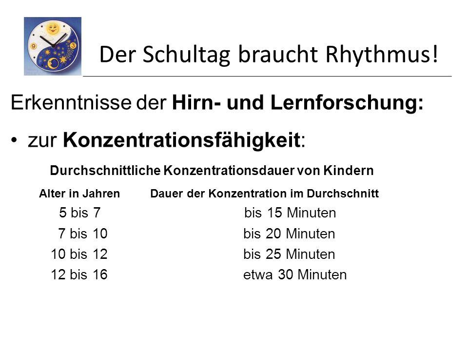Der Schultag braucht Rhythmus!