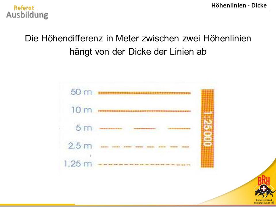 Die Höhendifferenz in Meter zwischen zwei Höhenlinien