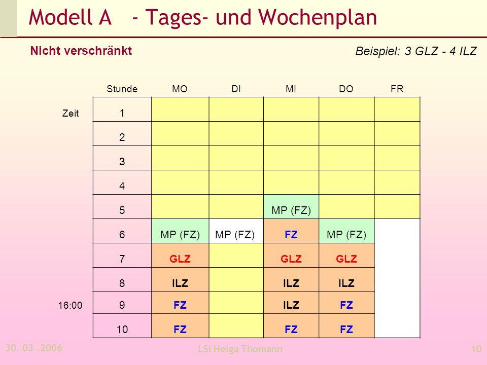 Modell A - Tages- und Wochenplan