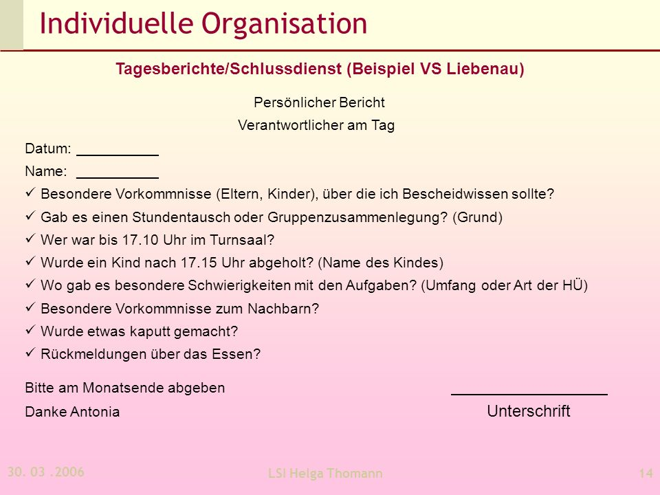 Individuelle Organisation