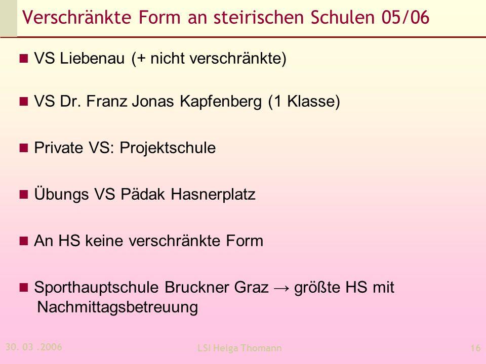 Verschränkte Form an steirischen Schulen 05/06