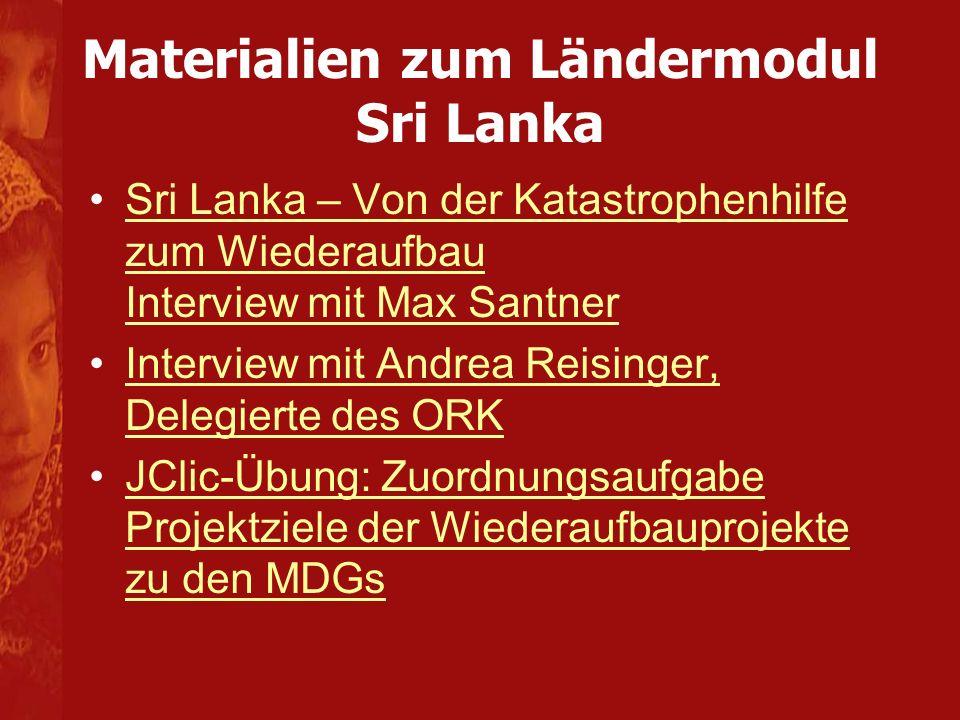 Materialien zum Ländermodul Sri Lanka