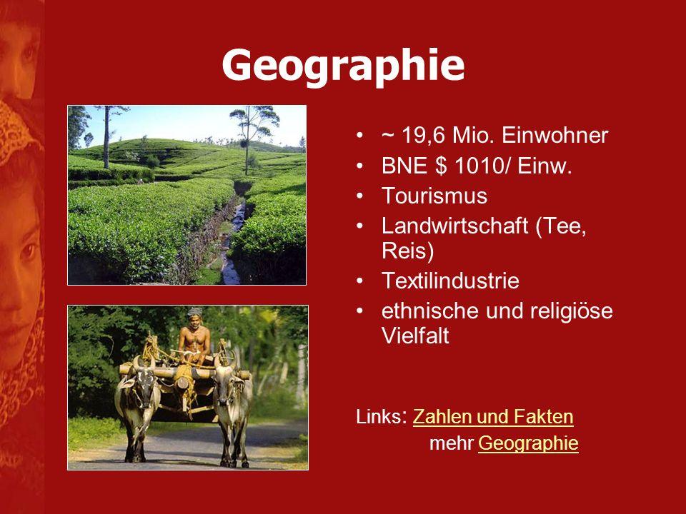 Geographie ~ 19,6 Mio. Einwohner BNE $ 1010/ Einw. Tourismus