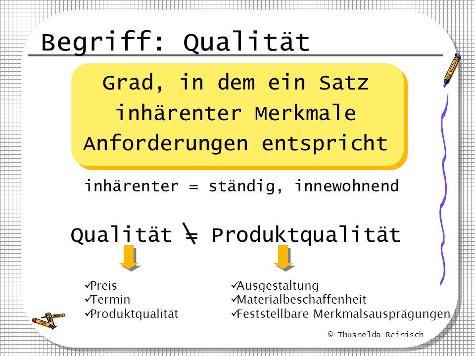 Begriff: Qualität Grad, in dem ein Satz inhärenter Merkmale