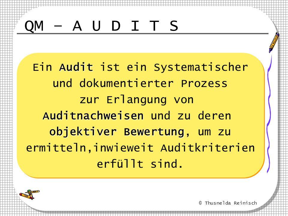 QM – A U D I T S Ein Audit ist ein Systematischer