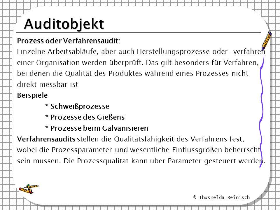 Auditobjekt Prozess oder Verfahrensaudit: