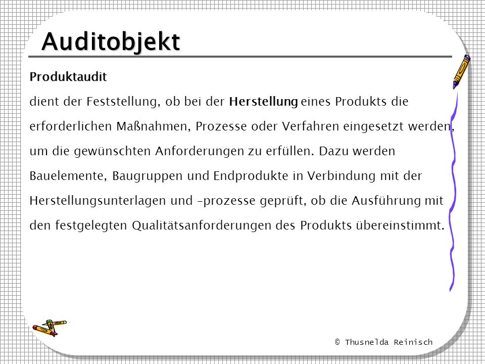 Auditobjekt Produktaudit