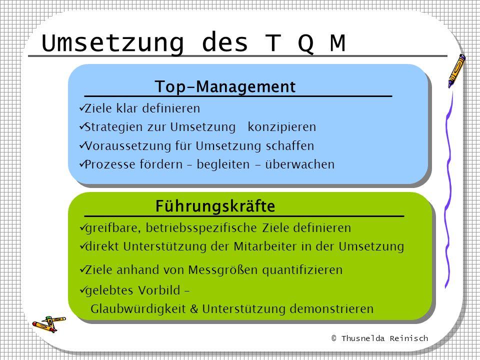 Umsetzung des T Q M Top-Management Führungskräfte Mitarbeiter Firma
