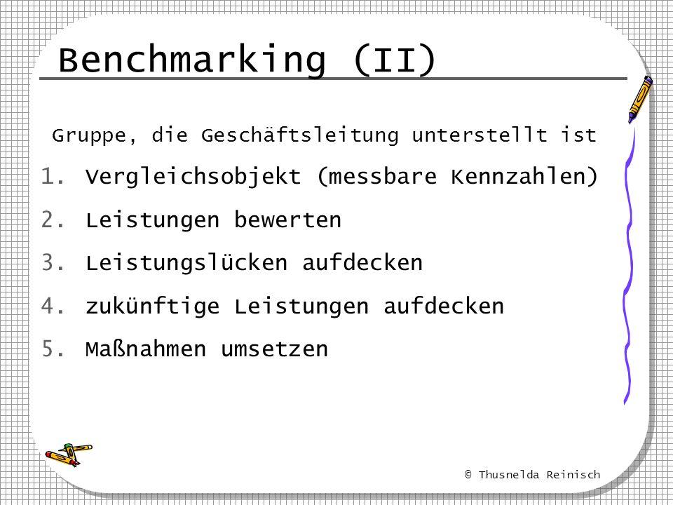 Benchmarking (II) Vergleichsobjekt (messbare Kennzahlen)