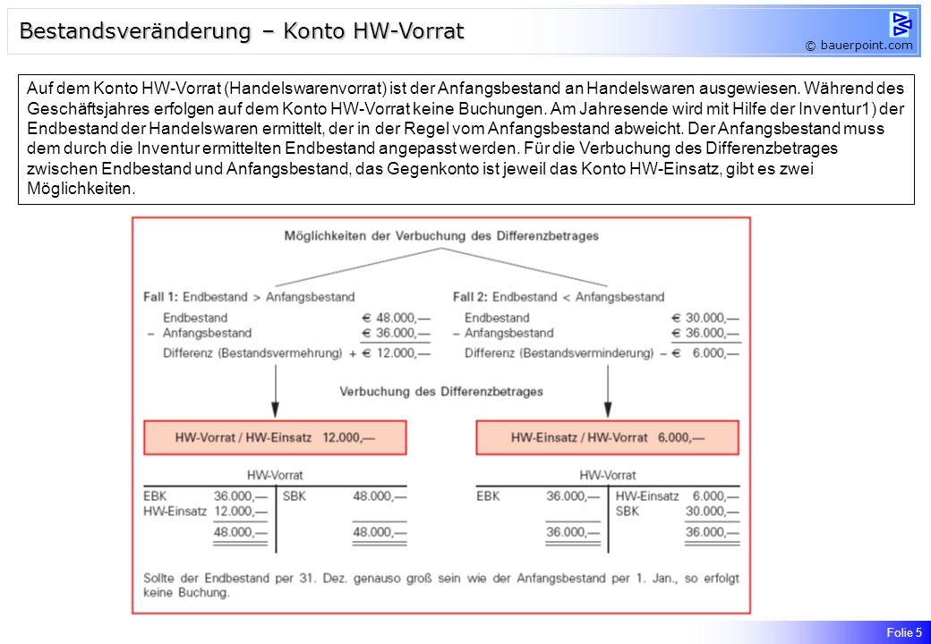 Bestandsveränderung – Konto HW-Vorrat
