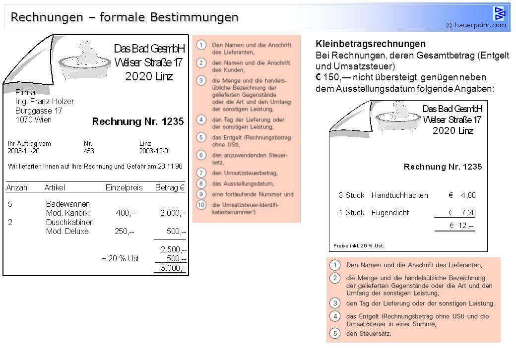 Rechnungen – formale Bestimmungen
