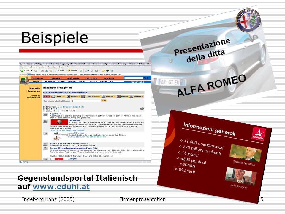 Beispiele Gegenstandsportal Italienisch auf www.eduhi.at