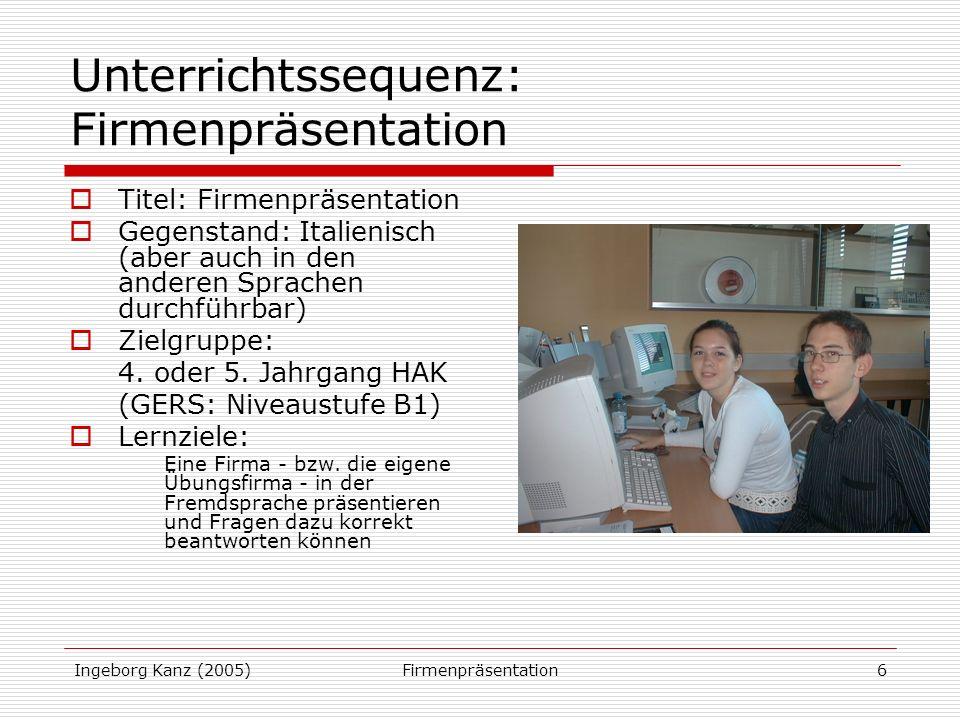 Unterrichtssequenz: Firmenpräsentation