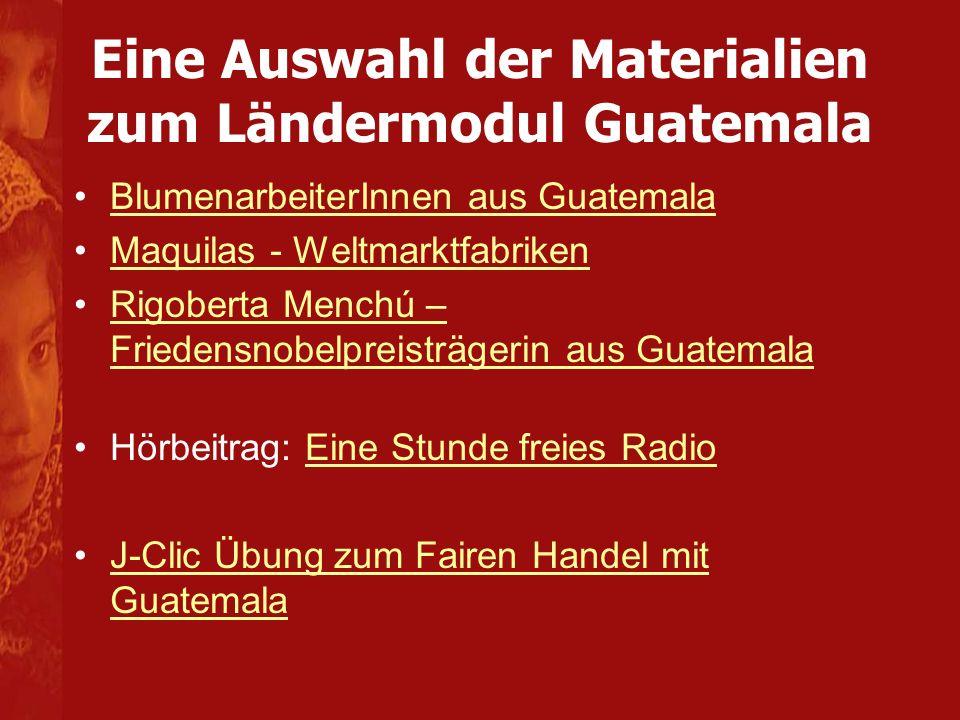 Eine Auswahl der Materialien zum Ländermodul Guatemala