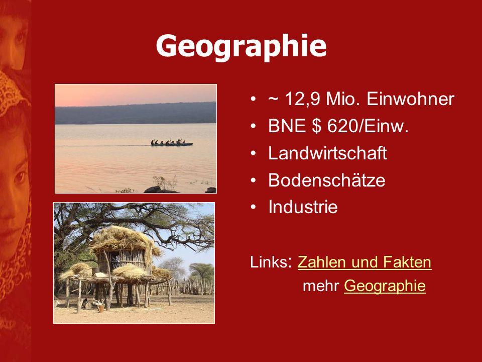 Geographie ~ 12,9 Mio. Einwohner BNE $ 620/Einw. Landwirtschaft
