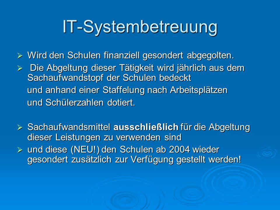 IT-Systembetreuung Wird den Schulen finanziell gesondert abgegolten.