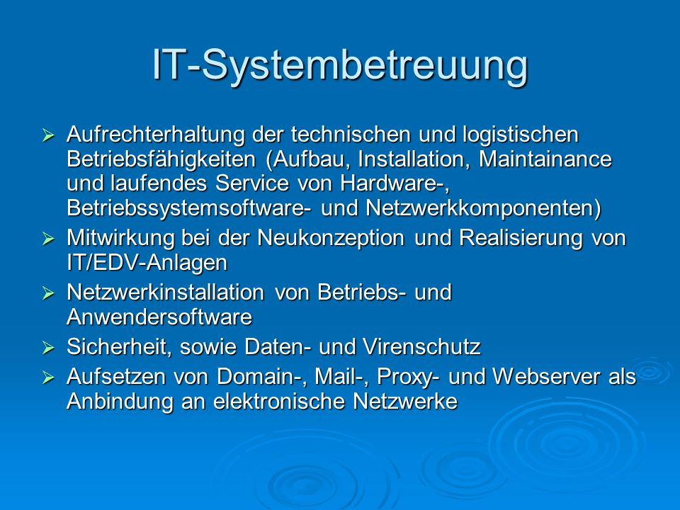 IT-Systembetreuung