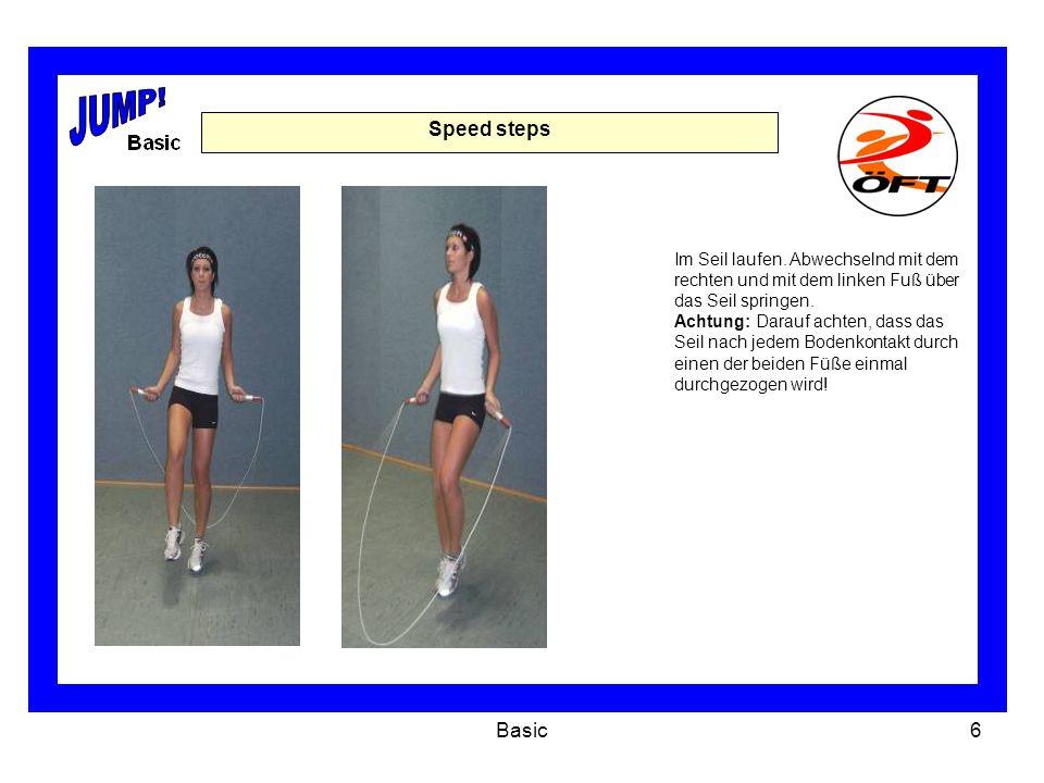JUMP! Speed steps. Im Seil laufen. Abwechselnd mit dem rechten und mit dem linken Fuß über das Seil springen.