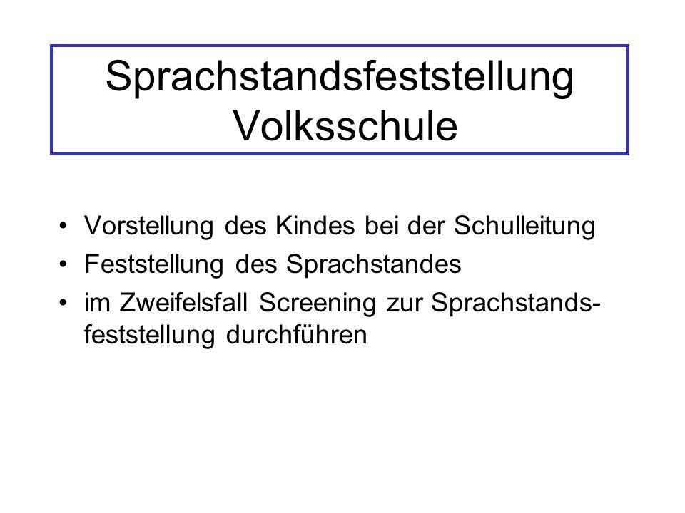 Sprachstandsfeststellung Volksschule