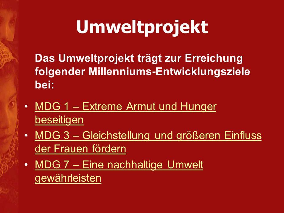 Umweltprojekt Das Umweltprojekt trägt zur Erreichung folgender Millenniums-Entwicklungsziele bei: MDG 1 – Extreme Armut und Hunger beseitigen.
