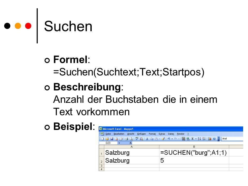 Suchen Formel: =Suchen(Suchtext;Text;Startpos)