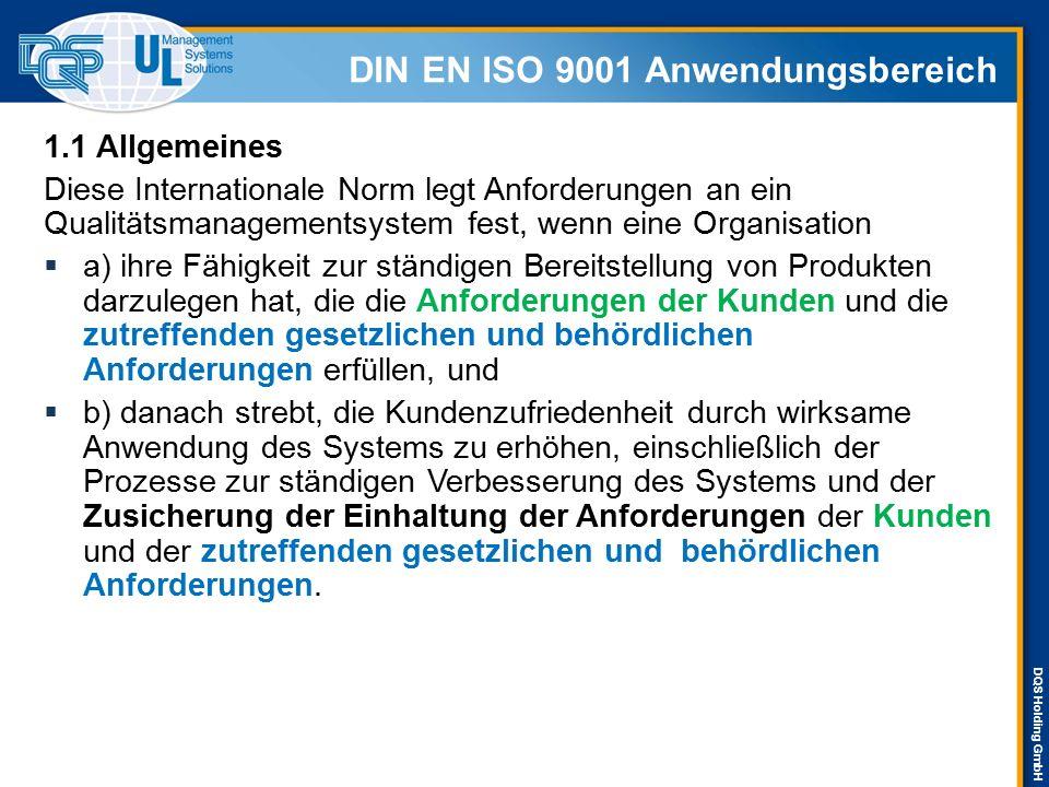 DIN EN ISO 9001 Anwendungsbereich