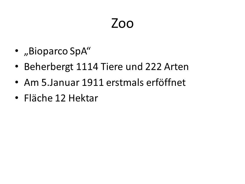 """Zoo """"Bioparco SpA Beherbergt 1114 Tiere und 222 Arten"""