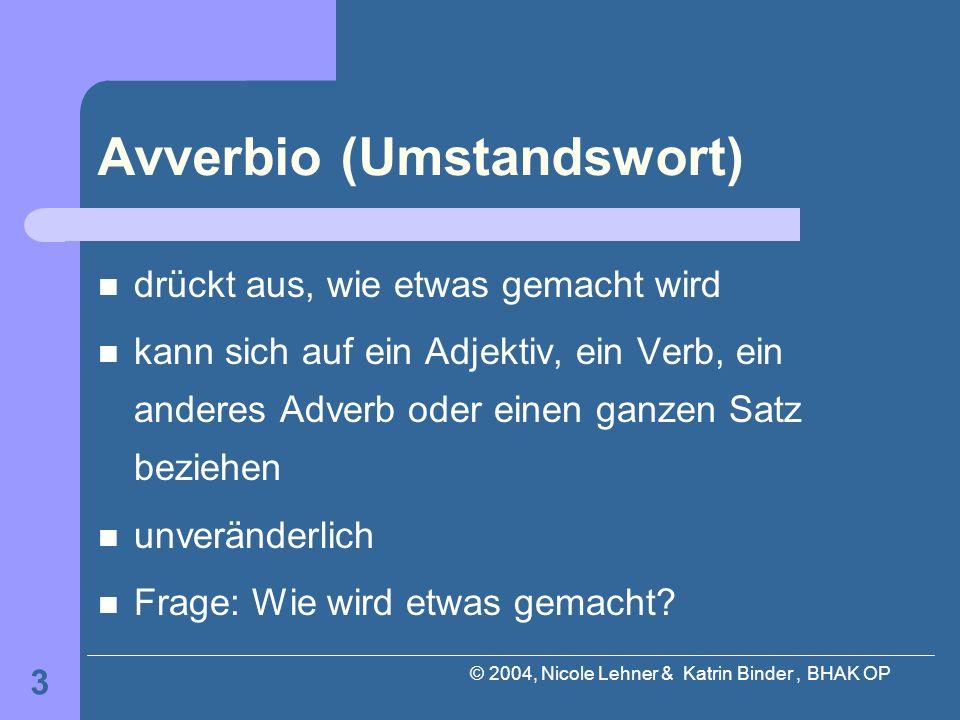 Avverbio (Umstandswort)