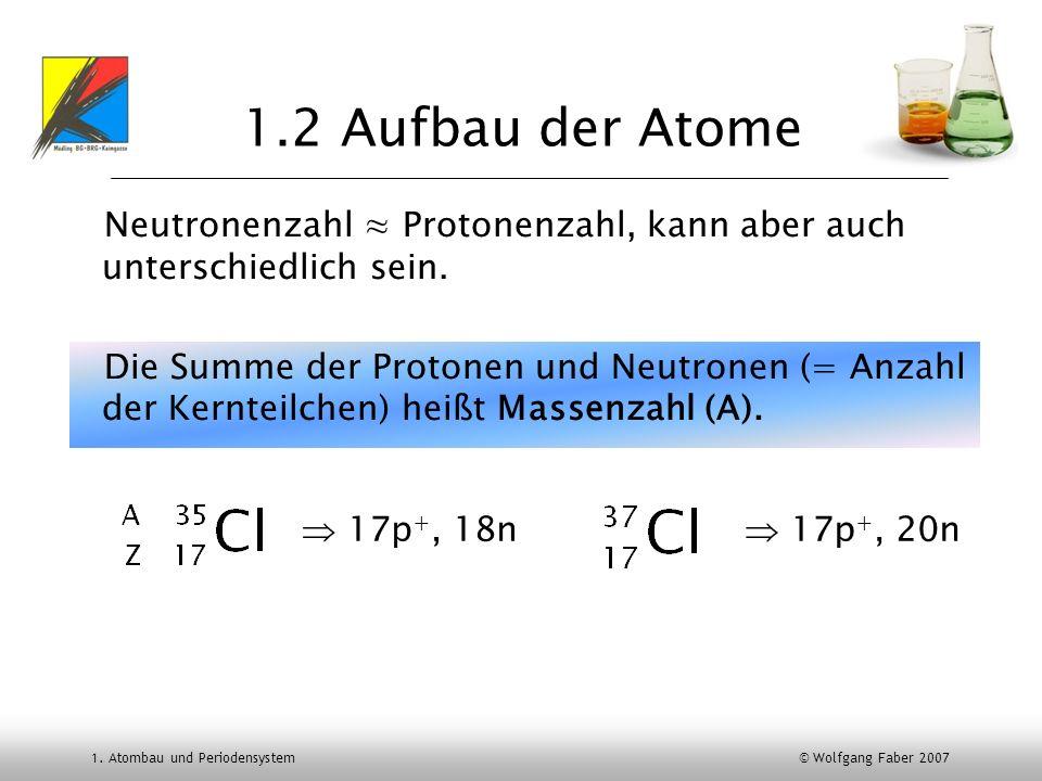1.2 Aufbau der Atome Neutronenzahl ≈ Protonenzahl, kann aber auch unterschiedlich sein.