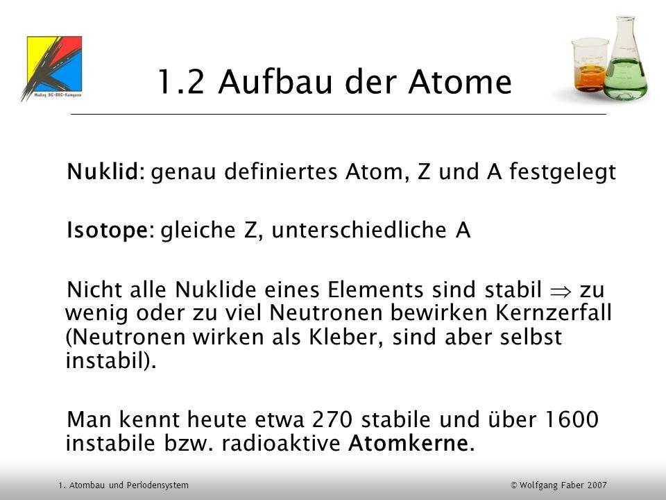 1.2 Aufbau der Atome Nuklid: genau definiertes Atom, Z und A festgelegt. Isotope: gleiche Z, unterschiedliche A.