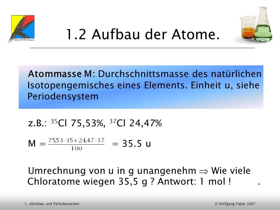 1.2 Aufbau der Atome. Atommasse M: Durchschnittsmasse des natürlichen Isotopengemisches eines Elements. Einheit u, siehe Periodensystem.
