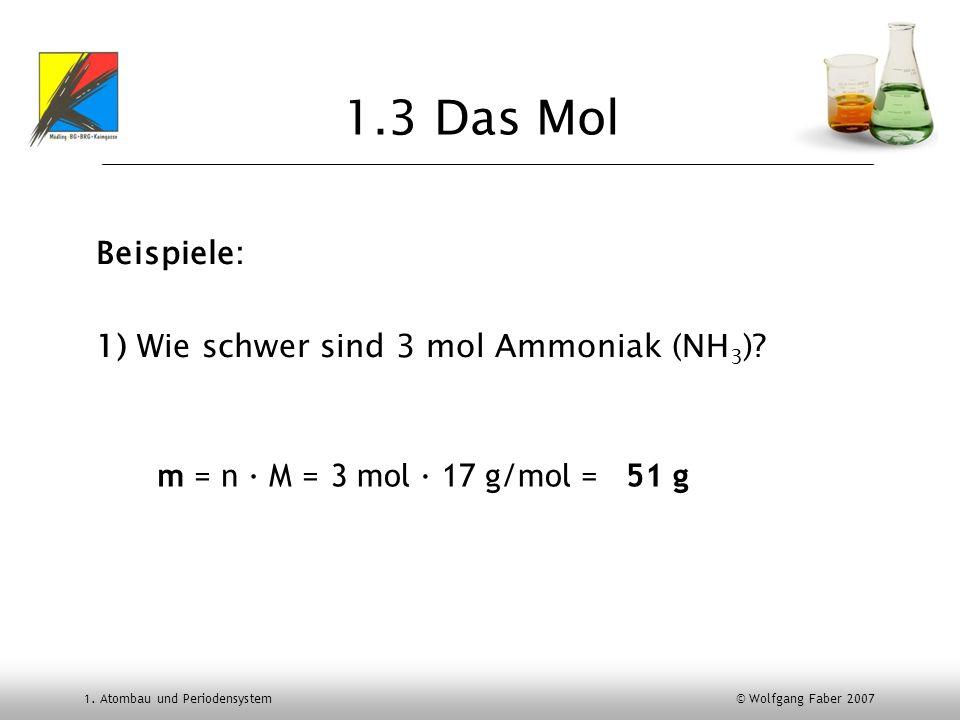 1.3 Das Mol Beispiele: 1) Wie schwer sind 3 mol Ammoniak (NH3)