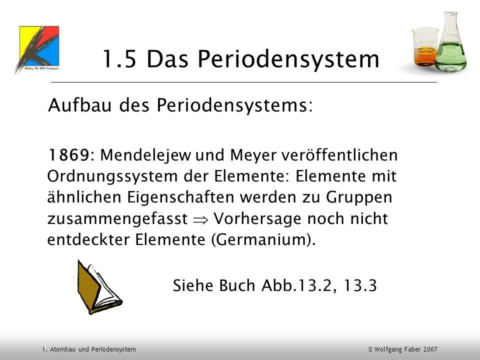 1.5 Das Periodensystem Aufbau des Periodensystems: