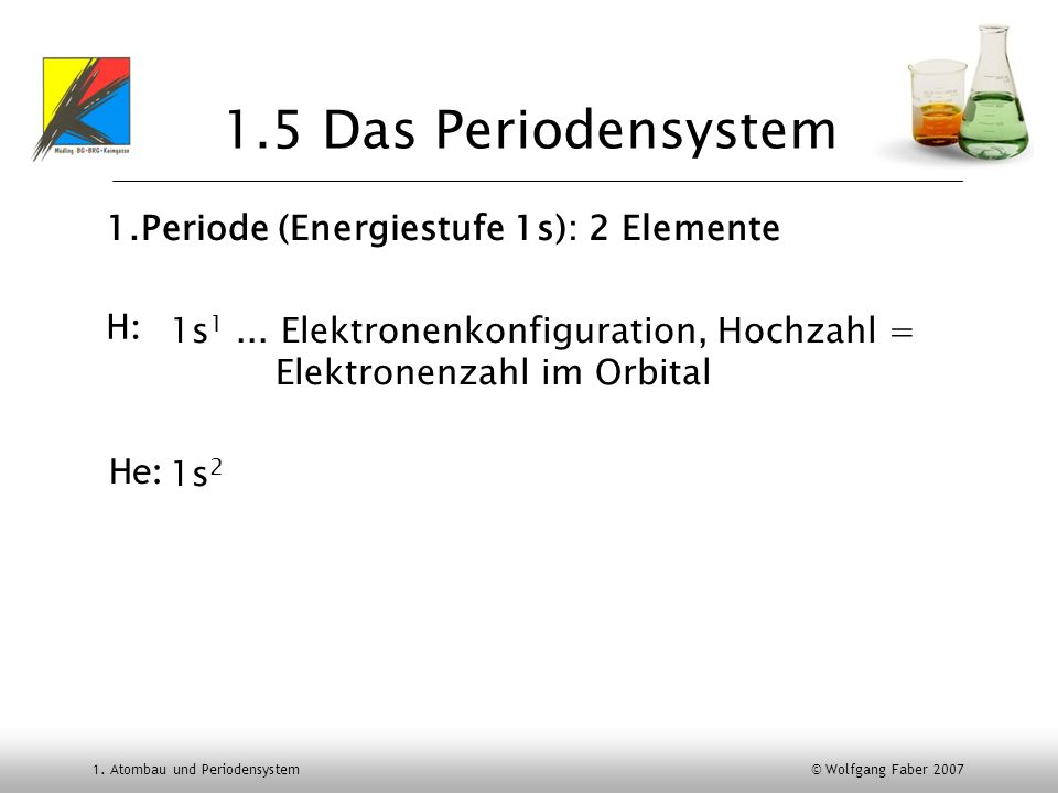 1.5 Das Periodensystem 1.Periode (Energiestufe 1s): 2 Elemente