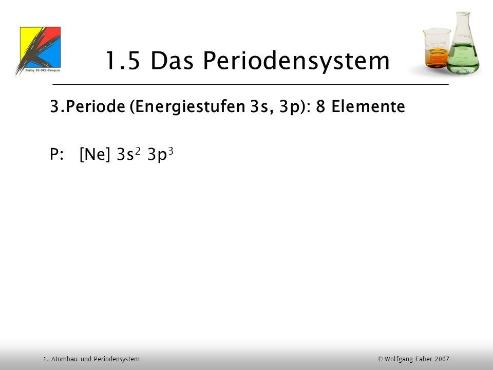 1.5 Das Periodensystem 3.Periode (Energiestufen 3s, 3p): 8 Elemente