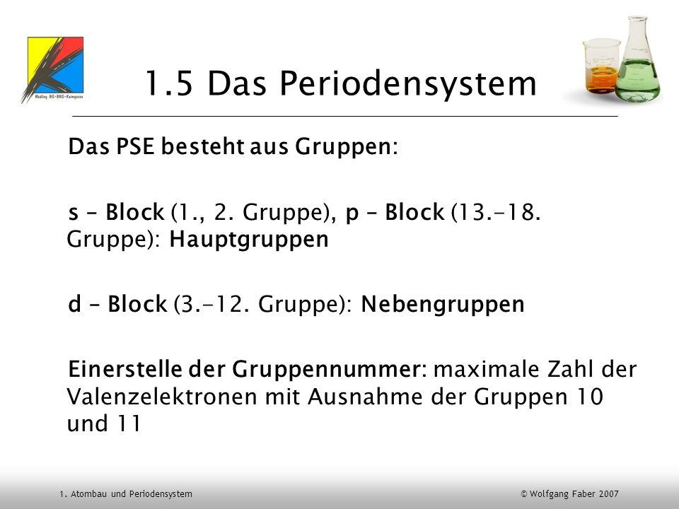1.5 Das Periodensystem Das PSE besteht aus Gruppen: