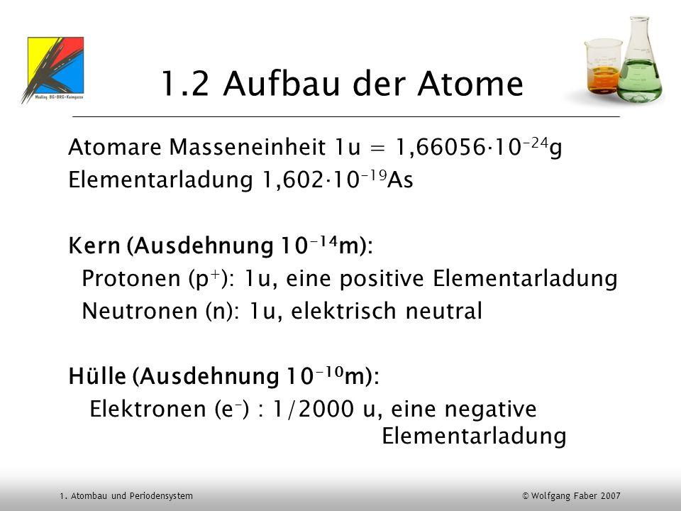 1.2 Aufbau der Atome Atomare Masseneinheit 1u = 1,66056‧10-24g