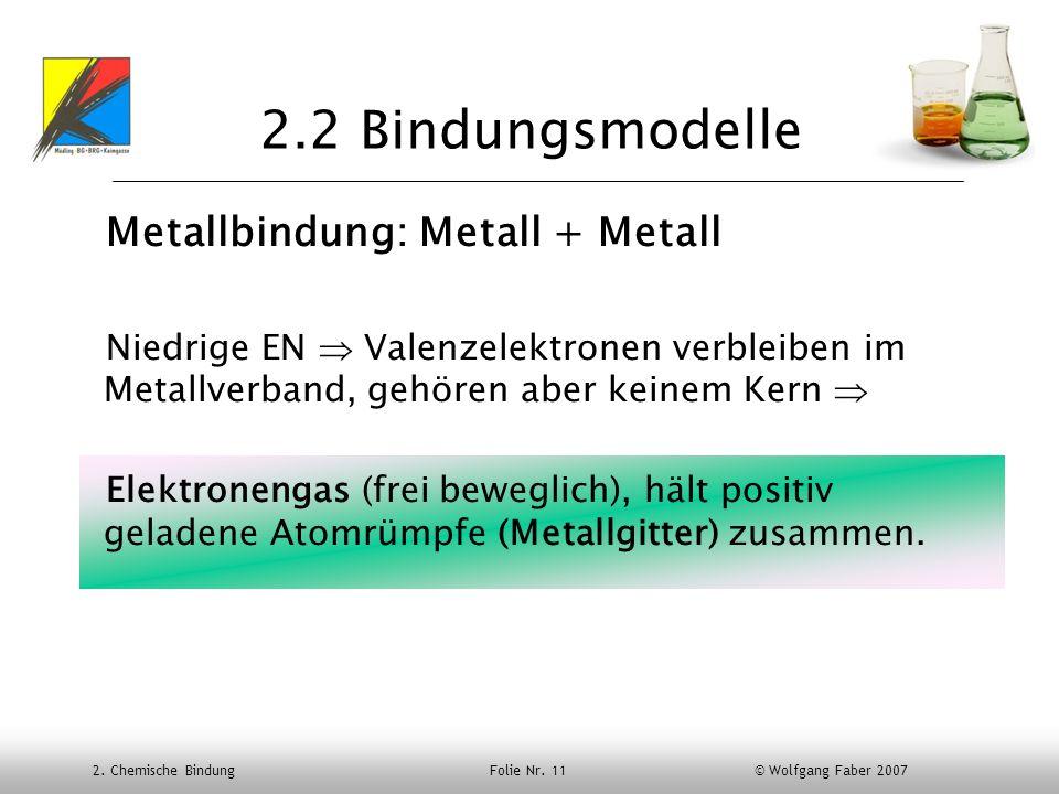 2.2 Bindungsmodelle Metallbindung: Metall + Metall
