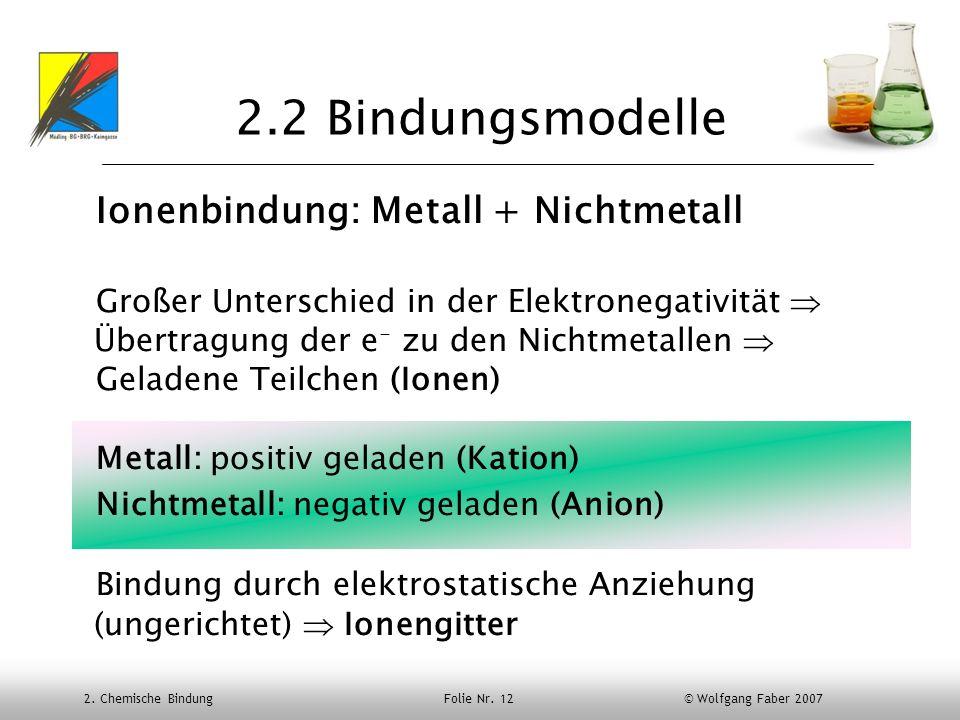 2.2 Bindungsmodelle Ionenbindung: Metall + Nichtmetall