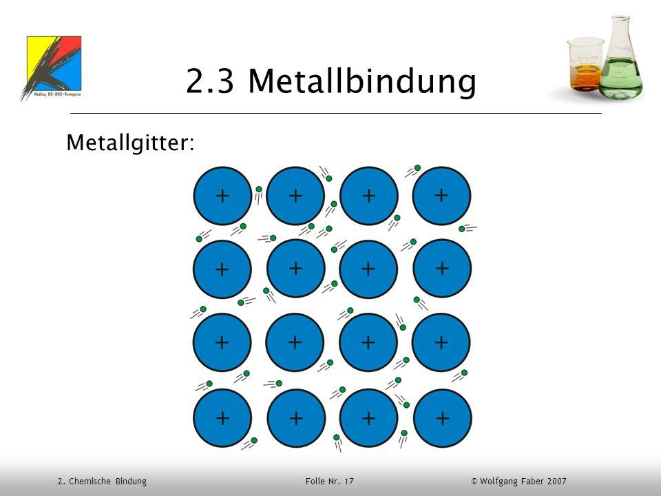 2.3 Metallbindung Metallgitter: