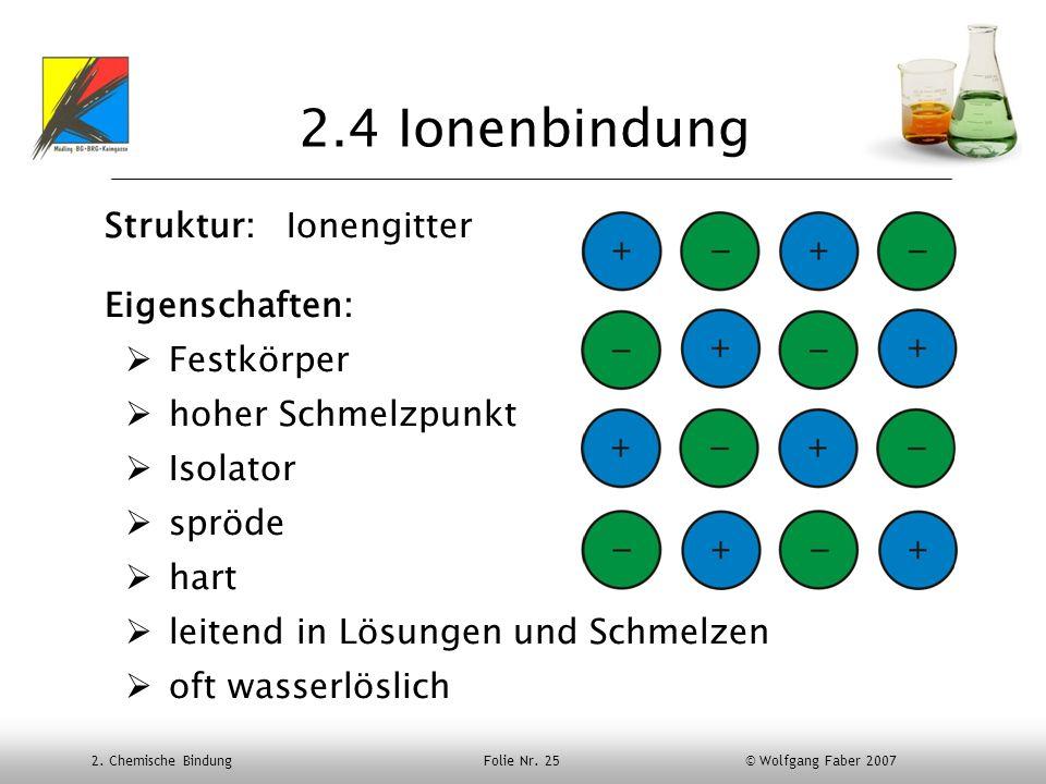 2.4 Ionenbindung Struktur: Ionengitter Eigenschaften: Festkörper