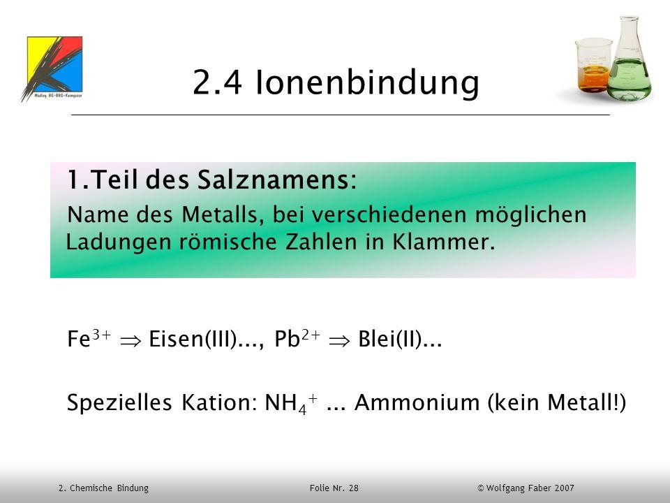 2.4 Ionenbindung Teil des Salznamens: